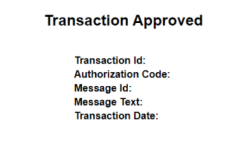 Screenshot of transaction approved message